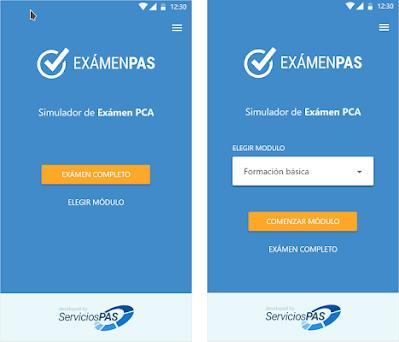 ExamenPAS preview screenshot