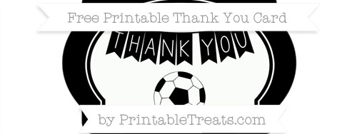 Black Soccer Thank You Card — Printable Treats.com
