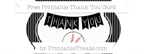 Black Thin Striped Pattern Baseball Thank You Card