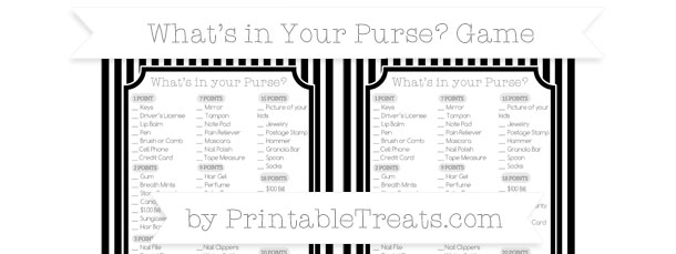 Black Thin Striped Pattern Whats in Your Purse Baby Shower