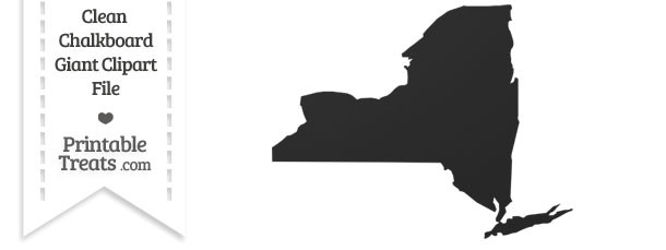 Clean Chalkboard Giant New York State Clipart — Printable
