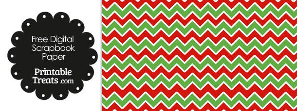 Green Red And White Chevron Digital Paper Printable