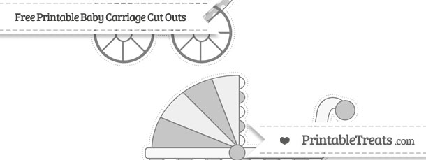 Grey Heart Pattern Large Baby Carriage Cut Outs