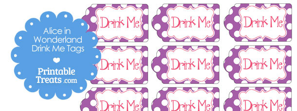 Printable Alice In Wonderland Drink Me Tags — Printable