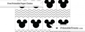 Free Silver Chevron Mickey Mouse Paper Chains — Printable