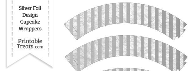 Silver Foil Stripes Cupcake Wrappers — Printable Treats.com