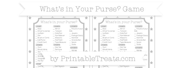 Silver Star Pattern Whats in Your Purse Baby Shower Game