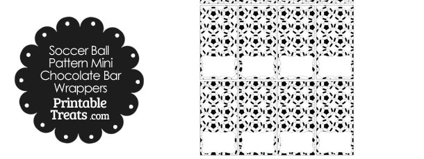Soccer Ball Pattern Mini Chocolate Bar Wrappers