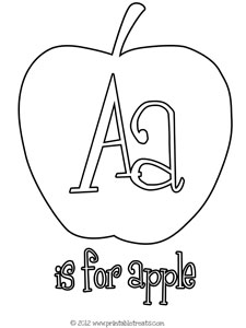 A is for Apple Coloring Page for Kids — Printable Treats.com