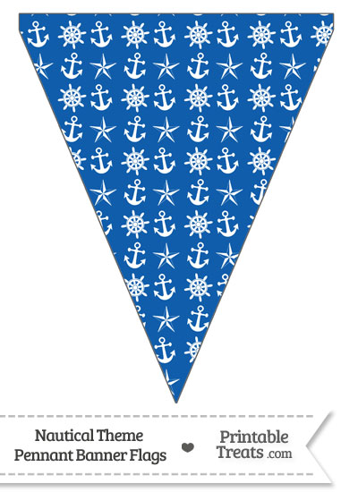 Blue Nautical Pennant Banner Flag Printable Treats Com