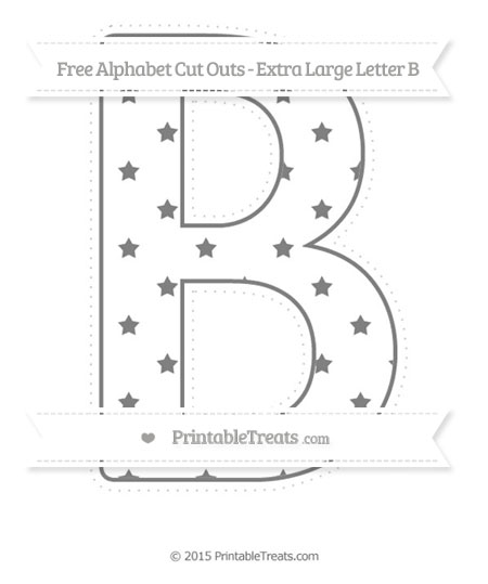 Free Grey Star Pattern Extra Large Capital Letter B Cut