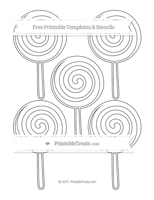 Free Printable Medium Swirly Lollipop Stencil — Printable