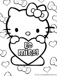 Hello Kitty Valentines Coloring Pages — Printable Treats.com