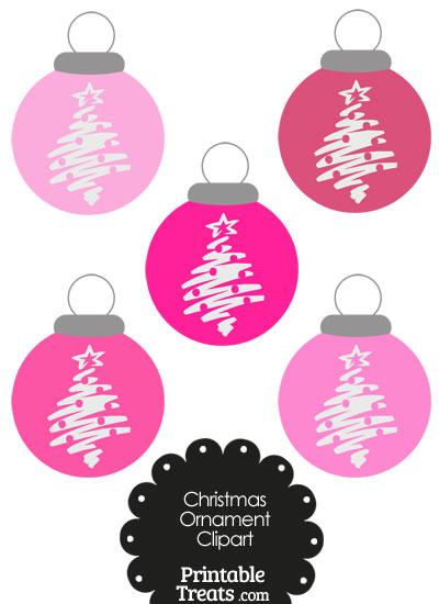 Pink Christmas Tree Christmas Ornament Clipart Printable