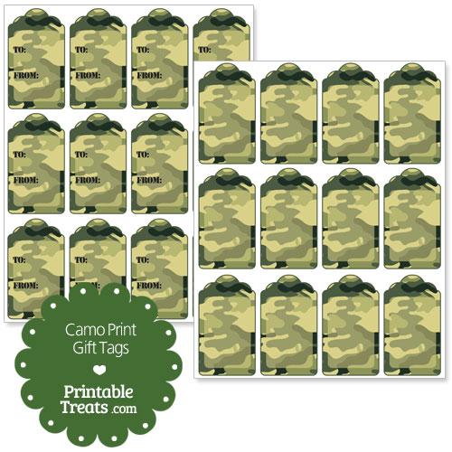 Printable Camo Gift Tags Printable