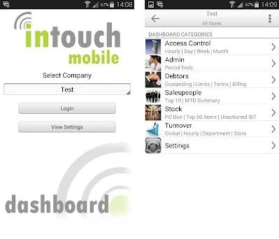 Intouch Mobile Dashboard preview screenshot