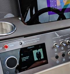 though a prototype the sea ray demo boat also illustrated how beautifully the flagship apollo ra770 audio head unit can flush mount into a modern style  [ 2650 x 2062 Pixel ]