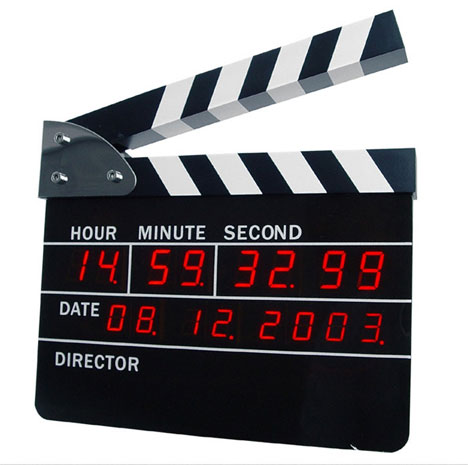 Clapperboard alarm clock