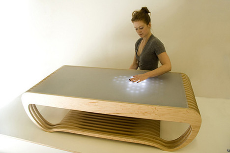 LED touch-sensitive coffee table