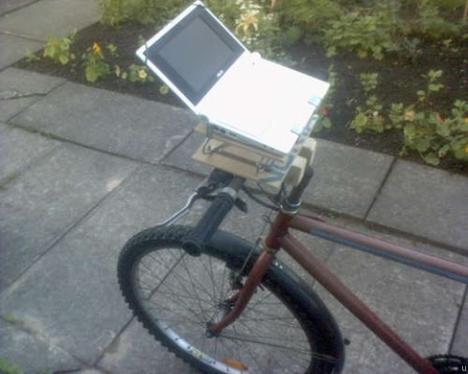 Netbook mounted on a bike