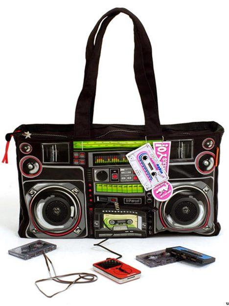 Boombox bag with built-in speakers