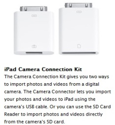 Camera Connection Kit For Apple iPad