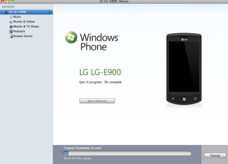 Windows Phone 7 Connector Syncs Your WP7 Device With Your Mac