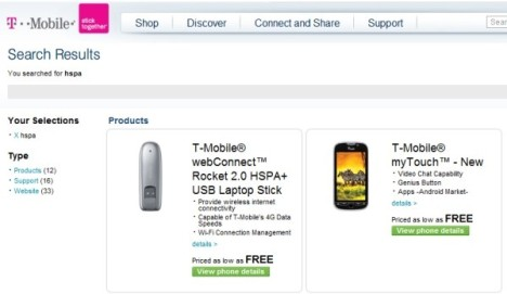 T-Mobile myTouch HD Spotted On Carrier's Site?