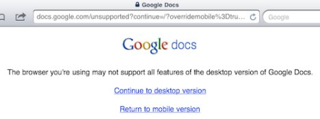 Desktop Version Of Google Docs Available For iPad
