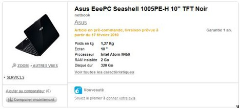 Asus Eee PC 1005PE-H product page spotted