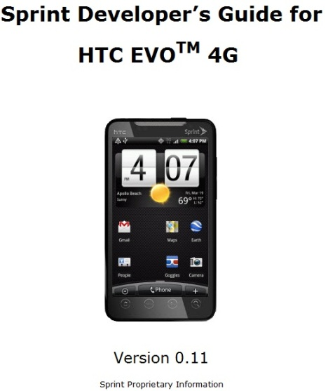 Sprint Releases HTC EVO 4G Developer's Guide