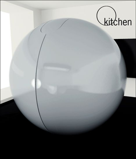 O Kitchen Concept Curls Up Into A Ball