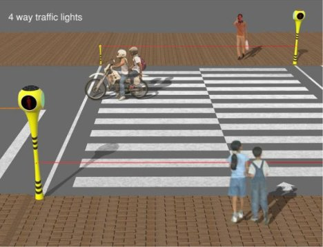 Solar Powered 4-Way Traffic Lights With Laser Signals