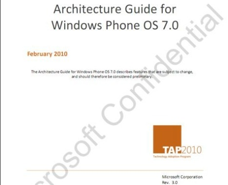 Leaked Windows Phone 7 Architecture Guide Reveals Juicy Details