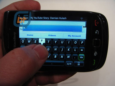 BlackBerry 9800 Slider Pictured With Virtual Keyboard