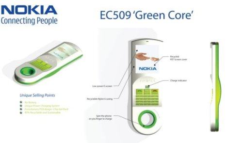 Spin-to-charge Eco-friendly EC509 Green Core Phone Concept