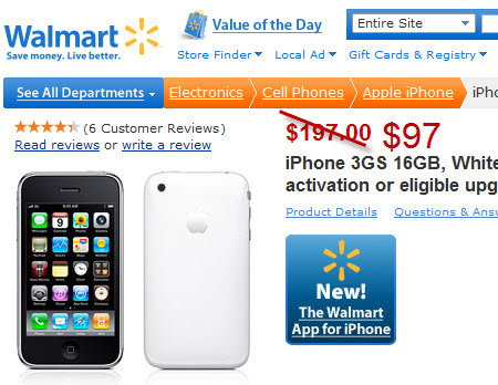 Walmart to sell the iPhone 3GS for $97 starting tomorrow