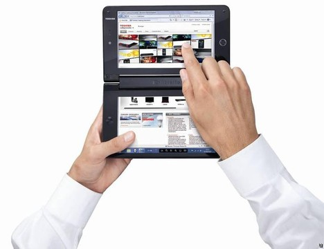 Toshiba Libretto W100 dual-touchscreen display device