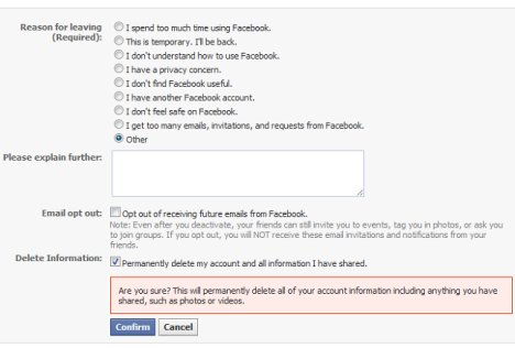 Facebook Testing New Account Deletion Feature