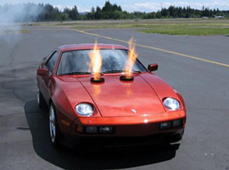 Porsche 928 breathes fire for a mean look