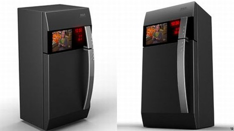 Refrigerator 2 holds integrated LCD TV to entertain homemakers