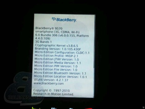 BlackBerry 9570 About display takes a bow