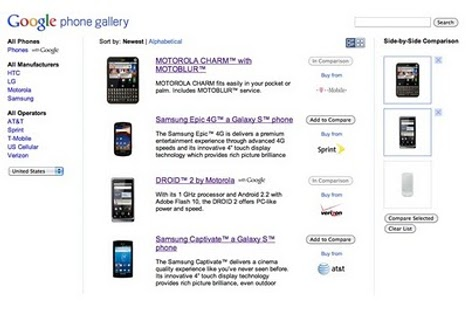 Google Phone Gallery Introduces You To Android Phones