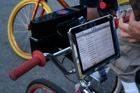 iPad And Speakers Mounted On Bicycle