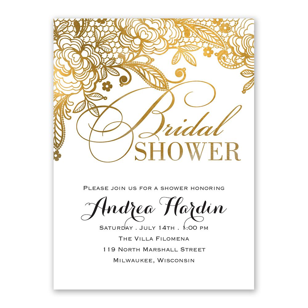 Gold Lace Bridal Shower Invitation  Anns Bridal Bargains