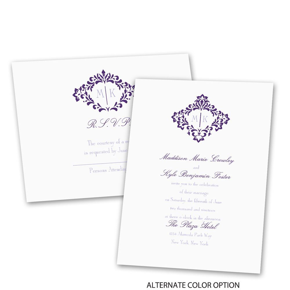 Pretty Flourish Invitation with Free Response Postcard