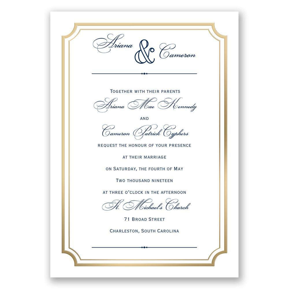 gold frame invitation with