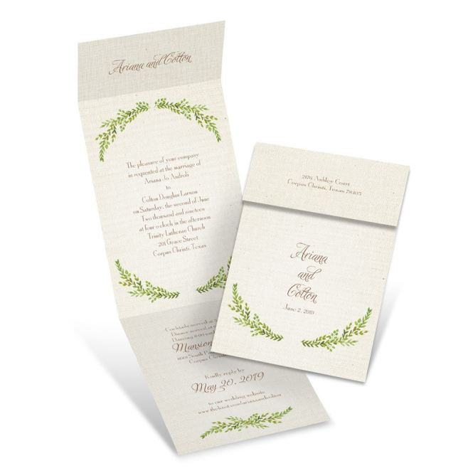 Leaves And Linen Invitation With Online Reply Ann S Bridal Bargains