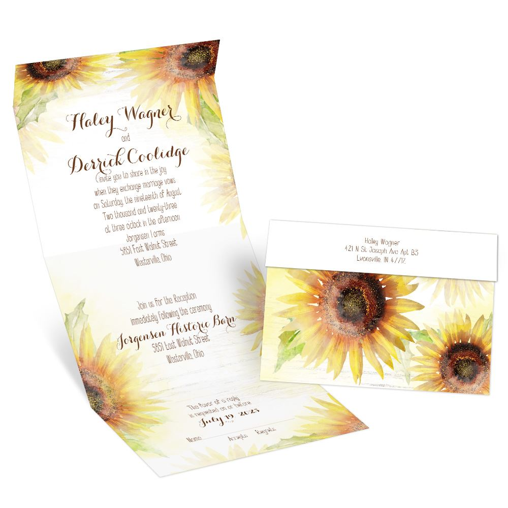 Painted Sunflowers Seal and Send Invitation  Anns Bridal