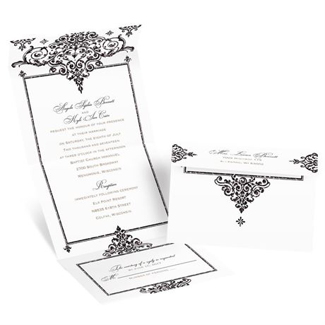 Dazzling Damask Seal and Send Invitation  Invitations by Dawn